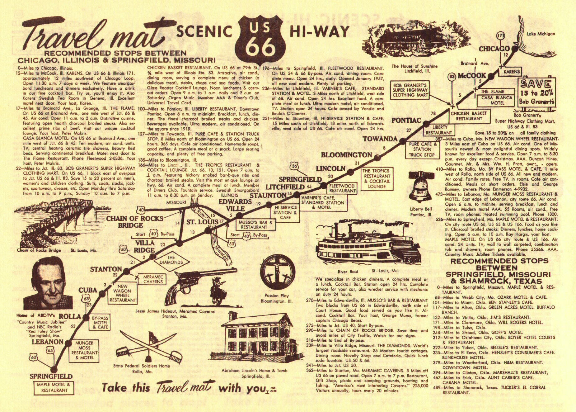 Route 66  Travel Map, c. 1959, Chicago to Springfield, MO