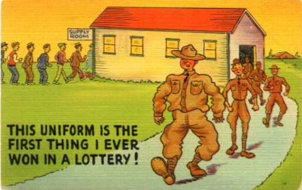 Military comic postcard page